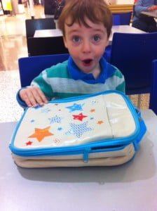 Excitement from Luka at his new lunch bag!