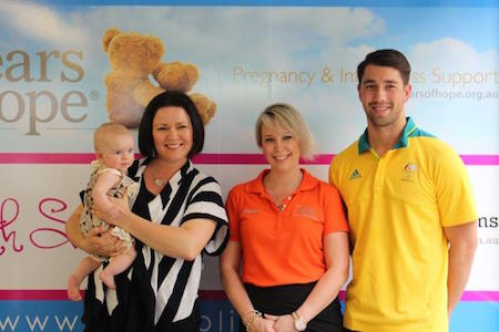 North Shore Mums founder Rachel Chappell with Amanda Bowles (Bear) & Daniel Arnamnart.