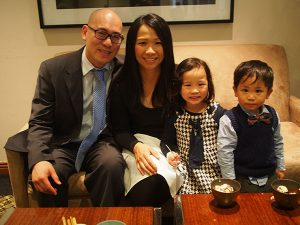 Elaine with her husband, daughter (5) and son (3).