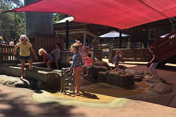 Water play area at Backyard to Bush, Taronga Zoo