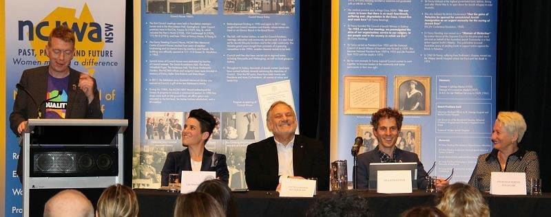 L to R: Tiernan Brady, Lauren Reindhardt, Justice Stephen Rothman, President of ACON next to him, Dr Justin Koonin, Dr Kerryn Phelps