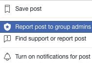 Report post to Facebook admin