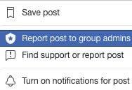 Report post to Facebook admin
