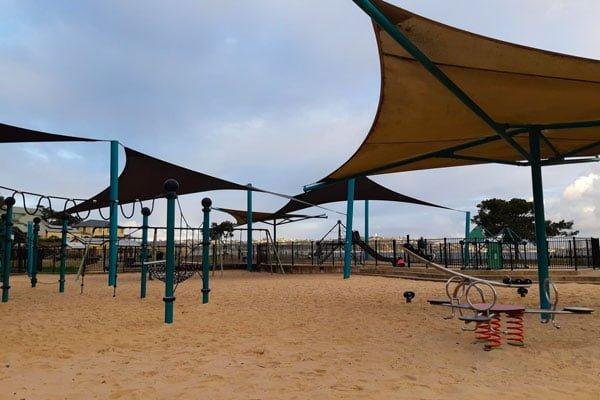 A sandy playground area