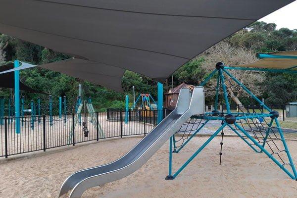 A metal slippery dip
