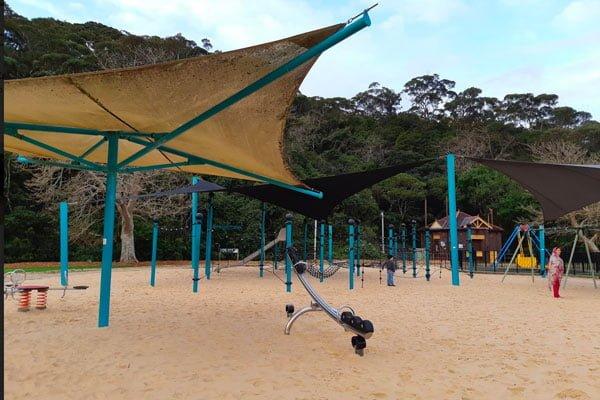 A fenced playground