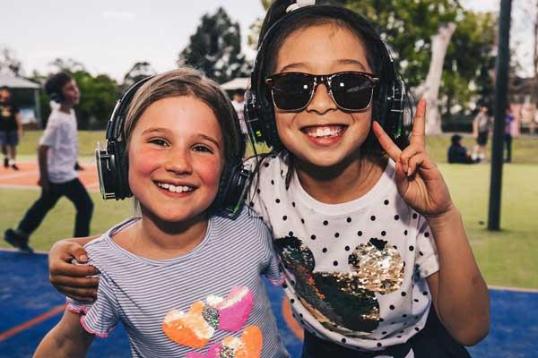 Children in headphones at a Slient Disco