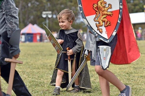 Child knight at St Ives Medieval Faire