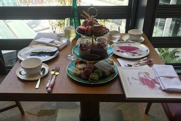 The Sofitel Darling Harbour high tea table setting