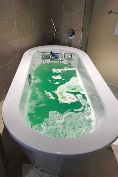 A Lush bath bomb in water