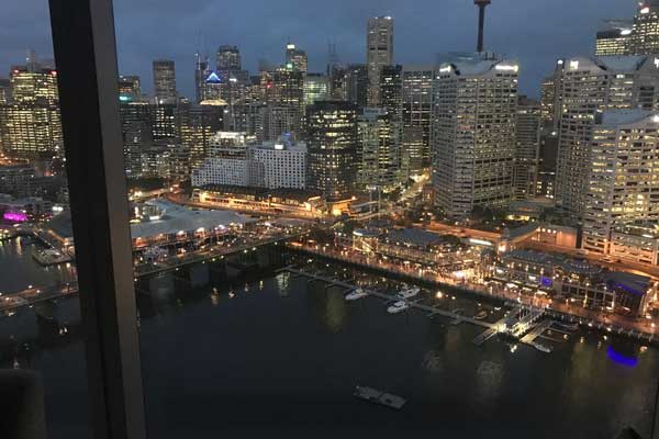 The Darling Harbour view at night