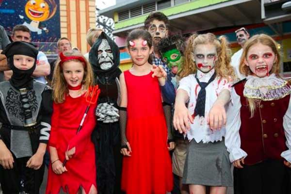 Kids in costume at Luna Park Sydney's Spooksville