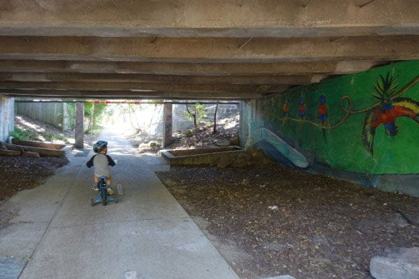 Murals in a bike tunnel
