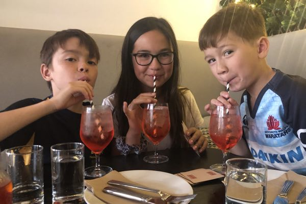 Kids drinking lemonade on the Central Coast holiday