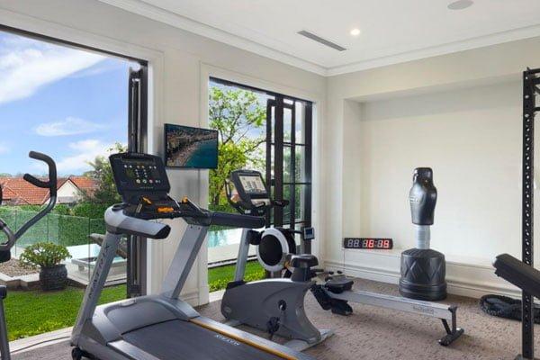 Home gym at Mosman mansion