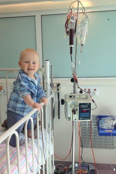 Bbay undergoing hospital blood transfusion