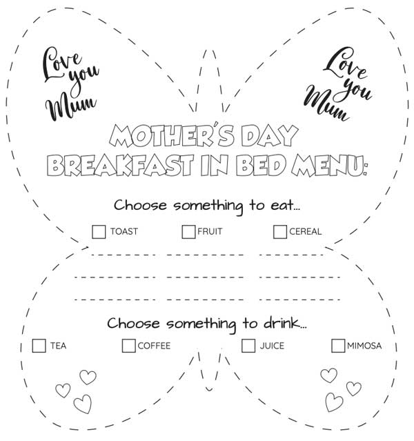 Mother's Day Breakfast in Bed menu