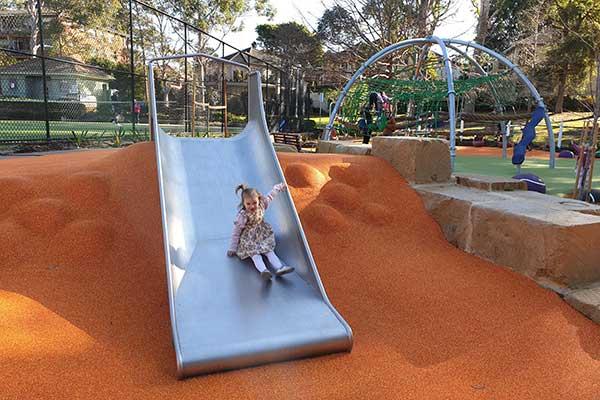 Vivi on the slide Gordon Recreation Ground