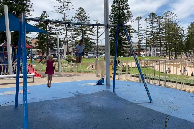 Swings at Michaela Howie playground, Dee Why