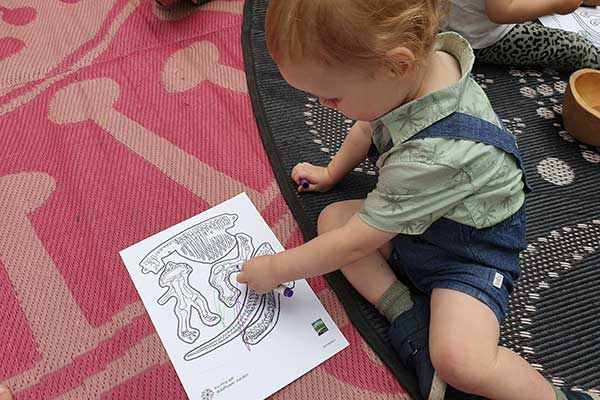 Enjoying dinosaur arts & crafts