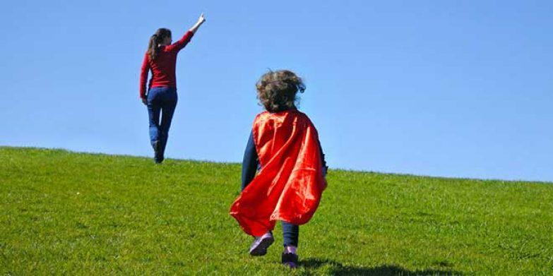 39240142 - girl power superhero confidence in kids or children
